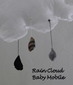 handmade homemade rustic rain cloud baby crib nursery mobile fabric burberry raindrops