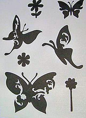 Butterflies and flower stencil pattern sheet