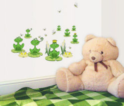 Cute Green Frog Prince Wall Decals and Stickers for Kids Rooms and Baby Nursery Walls