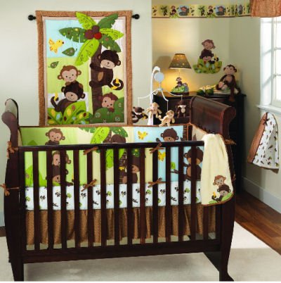 Green and brown tropical monkey jungle baby bedding and nursery decor