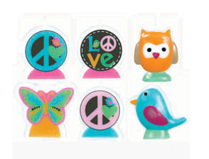 Baby blue bird, butterfly, orange owl and peace sign shaped candles