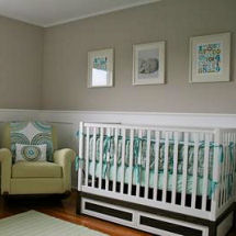Blue teal green gray and white modern baby girl nursery