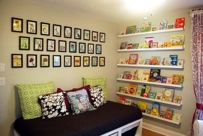 Kalia's custom bookshelves filled with books to enjoy with Mom and Dad for many years to come.
