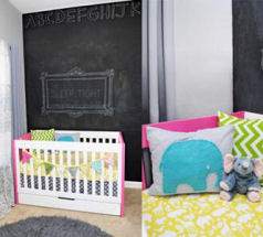 Colorful aqua blue lime green and yellow modern baby girl nursery with chalkboard wall paint