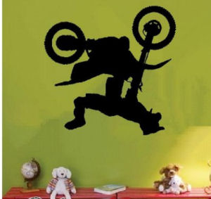 Custom vinyl dirtbike, motocross wall decals and stickers for kids rooms and a nursery for baby