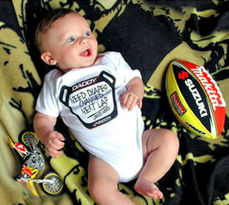 Motocross baby clothing, jerseys, boots and crib shoes
