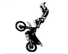 Large motocross vinyl decal featuring a rider doing dirt bike tricks.
