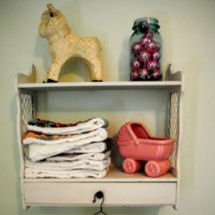 Sweet vintage shabby chic flea market thrift store budget baby girl nursery room decor