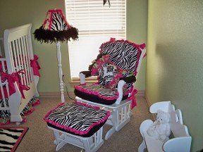 Black, white and hot pink custom baby nursery decor with zebra print fabric