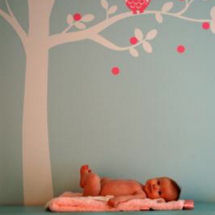 Pink and aqua or turquoise blue baby girl owl theme nature nursery with ivory tree wall decal