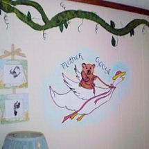 Unisex Gender Neutral Mother Goose nursery rhymes theme nursery with painted wall murals