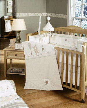 Natures Purest Organic Baby Hug Me Bedding Set in Green Brown and Ivory and Neutral Antique White
