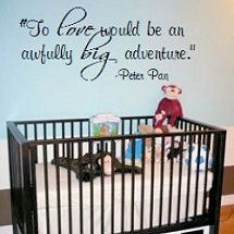 Peter Pan baby boy nursery theme wall quote decal