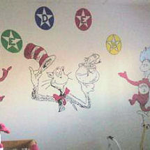 Baby girl Cat in the Hat and Thing One and Thing Two Dr Seuss nursery wall mural