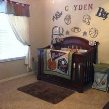 Baby boy allstar sports theme with soccer baseball football and basketball crib bedding set and nursery wall decals