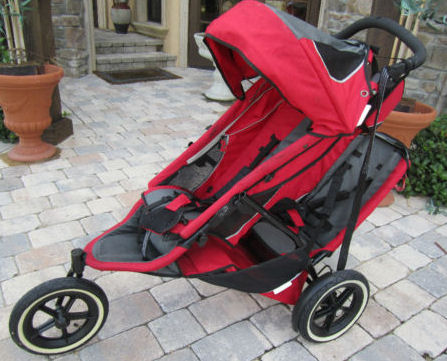 Red Phil and Ted's Sport Double Jogging Baby Stroller