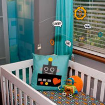 Robots nursery theme for a baby boy with robot wall art decorations crib bedding set and mobile