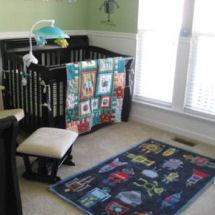 Baby boy robot theme nursery with robot crib set quilt,rug and mobile
