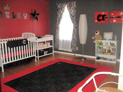 Baby boy rock star nursery theme in red, black and white with Fender guitar and rockstar baby bedding
