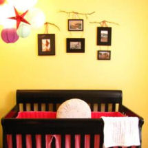 Rustic Shabby Chic Red and Yellow Baby Nursery