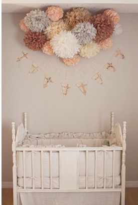 Peach pink ivory and gray baby girl nursery room