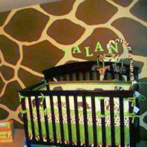 Chocolate brown giraffe and wild animal baby boy jungle safari nursery with jungle animal crib bedding set and giraffe print wall painting technique