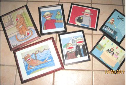 Framed Sock Monkey Baby Nursery Wall Art,monkey-baby-bedding.html Posters and Prints