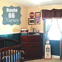 Baby boy vintage cars Route 66 memorabilia nursery theme decor