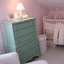 Aqua turquoise blue and pink vintage baby girl nursery room decor