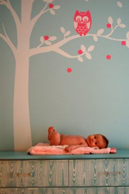Baby nursery owl tree wall sticker decal in pink and blue for a baby boy or girl