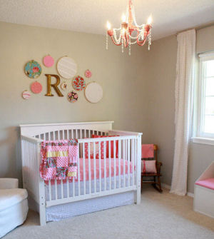 Watermelon pink and gray baby girl nursery decor.