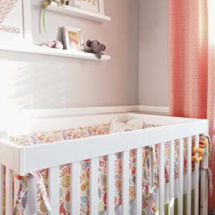 Modern pink gray and white girl sock monkey theme nursery room
