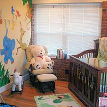 Zoo and  jungle animals baby nursery theme with wooden wall letters elephants wall mural