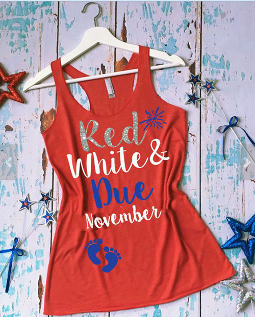 Red white and blue stars and stripes 4th of july pregnancy baby birth announcement maternity top tee-shirt racerback