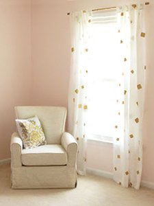 White and gold nursery curtains DIY stenciled stenciling project. Gold painted curtain rod for a baby girl nursery room.