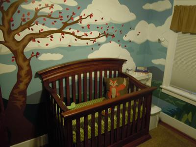 Baby Nursery with a Tree and Clouds Wall Mural Painting Inspired by Nature and the National Parks