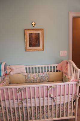 Aqua Blue and Pink Baby Girl Nursery Bedding and Wall Decor