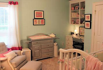 Aqua Blue and Pink Baby Girl Nursery Room