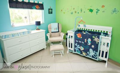 An ocean themed, under the sea nursery design for a baby boy.  Photos by Lauren Glase Photography