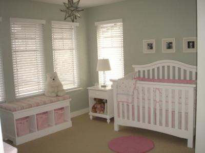 Stripes, Polka Dots and Puppy Baby Bedding Nursery Theme in Pink and Gray