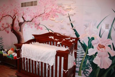 Pink butterfly baby nursery decorating ideas for a girl.