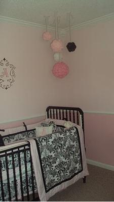Our baby girl's elegant white, pink and black princess nursery.