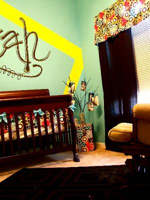 Modern abstract teal blue and lime green nursery with a twist!
