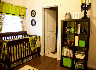 Lime Green and Black Airplane Baby Nursery Theme
