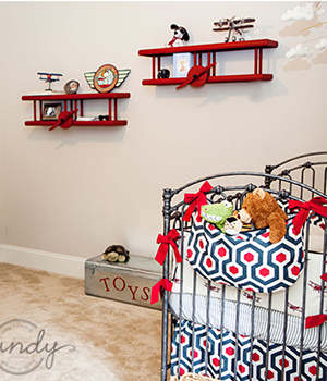 Baby Snoopy and the Red Baron nursery wall shelves
