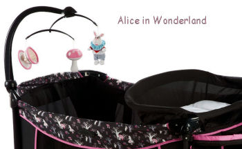 Alice in Wonderland Tea Party Bunny Rabbit theme baby play yard in black and pink