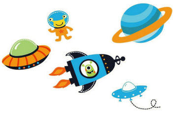 Arrangement of alien pictures from outer space rocket ships and planets for a baby nursery wall or kids room