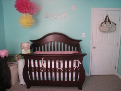 Crib wall of our baby girl's aqua owl themed nursery