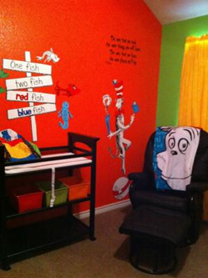 Dr Seuss baby room with blue, green, orange, yellow nursery wall paint