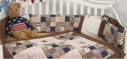 American red white and blue patriotic baby crib bedding with stars and stripes for a nursery room